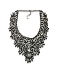 Abs By Allen Schwartz Black Magic Crystal Lace Bib Necklace Silver