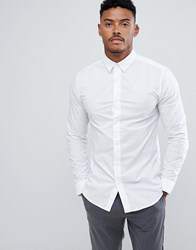 Sik Silk Siksilk Long Sleeve Muscle Fit Shirt In White