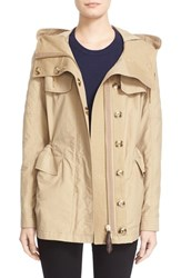 Women's Burberry Brit 'Parkfield' Hooded Drawstring Waist Jacket Honey