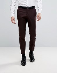 Burton Menswear Skinny Fit Smart Trousers Burgundy Red