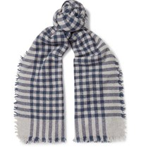 Begg And Co Beaufort Fringed Checked Wool Cashmere Blend Scarf Blue