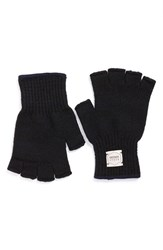 Men's Upstate Stock 'Ragg' Fingerless Wool Blend Knit Gloves Blue Navy Melange
