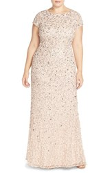 Plus Size Women's Adrianna Papell Embellished Scoop Back Gown Blush
