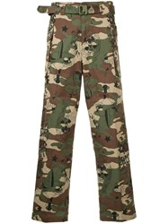 Hysteric Glamour Camouflage Cropped Trousers Cotton Green