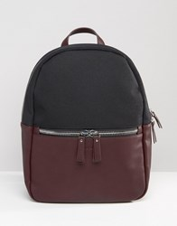 Smith And Canova Leather Nylon Backpack Red Black