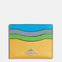 Coach Flat Card Case In Colorblock Leather Silver Canary Multi