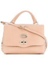 Zanellato Foldover Satchel With Gold Tone Hardware Details Leather Pink Purple