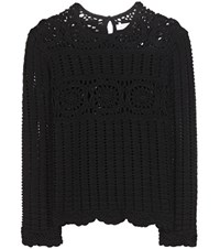 Isabel Marant Etoile Heloise Crochet Knit Linen And Cotton Top Black