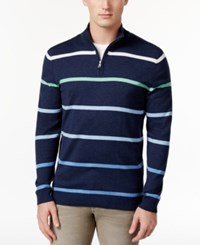 Club Room Men's Ombre Stripe Mock Collar Sweater Only At Macy's Navy Stone