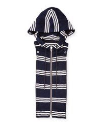Veronica Beard Striped Zip Front Hoodie Dickey Navy White Navy White