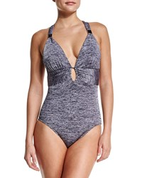 Jets By Jessika Allen Heathered Cross Back Gathered One Piece Swimsuit Silver
