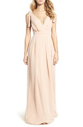 Monique Lhuillier Bridesmaids Women's Sleeveless Deep V Neck Chiffon Gown