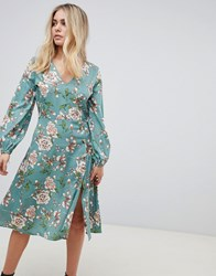 Influence Midi Floral Dress With Button Detail Green Floral