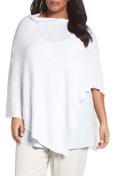 Eileen Fisher Plus Size Women's Organic Linen And Cotton Poncho White