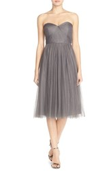 Women's Jenny Yoo 'Maia' Convertible Tulle Tea Length Fit And Flare Dress Shadow Grey