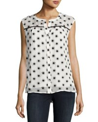 Cynthia Steffe Floral Embroidered Sleeveless Top Black