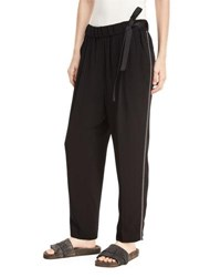 Brunello Cucinelli Pull On Belted Straight Leg Pants With Monili Track Stripes Black