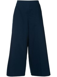Delpozo Pleated Cropped Trousers Blue