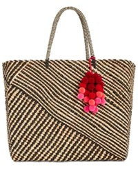 Inc International Concepts Stella Woven Beach Tote Created For Macy's Black