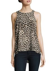 Vince Camuto Hi Lo Animal Print Tank Antique White