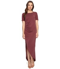 Culture Phit Ines Short Sleeve Dress With Ruched Side Dusty Burgundy Women's Dress