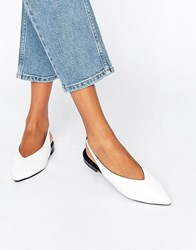 Asos Lychee Slingback Pointed Ballet Flats White
