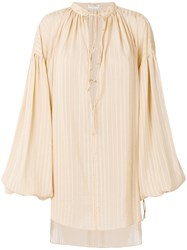 Saint Laurent Oversized Plunge Neck Tunic Nude And Neutrals