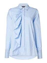Sportmax Code Longsleeve Striped Shirt With Front Frill Detail Light Blue