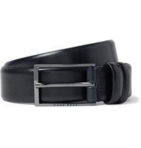 Hugo Boss 3.5Cm Black Carmello Leather Belt Navy