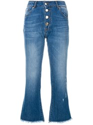 Each X Other Button Cropped Jeans Cotton Blue