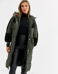 Urbancode Longline Padded Parka With Leopard Faux Fur Panels Green