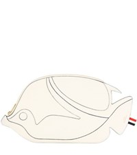 Thom Browne Trigger Reef Fish Leather Clutch White