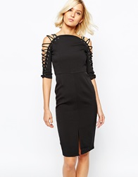 Lavish Alice Pencil Dress With Lace Up Detail And Front Split Black