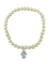 Lord And Taylor 6Mm Freshwater Pearl Sterling Silver Hamsa Charm Stretch Bracelet