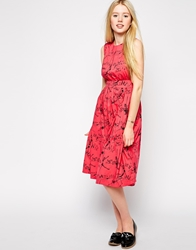 Emily And Fin Emily And Fin Lucy Printed Midi Skater Dress 993Red