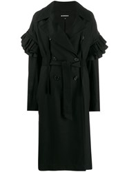 Ann Demeulemeester Ruffled Sleeves Double Breasted Coat 60