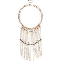 River Island Womens Gold Tone Beaded Fringe Necklace