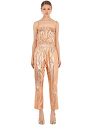 Isabel Marant Timi Metallic Cotton Jumpsuit Rose Gold