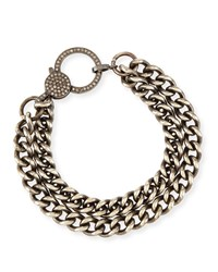Oxidized Silver Curb Chain Bracelet With Diamond Clasp Sheryl Lowe