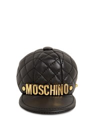 Moschino Logo Quilted Leather Hat Key Holder Black