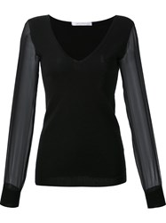 Sally Lapointe V Neck Sheer Longsleeves Blouse Black