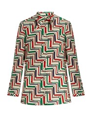 Gucci Chain Print Silk Crepe De Chine Blouse Cream Multi