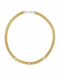 Alor Classique Coiled Cable Necklace W 3 Diamond Stations Yellow