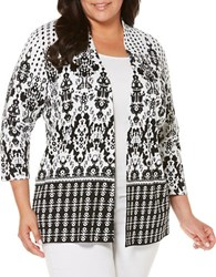 Rafaella Plus Printed Cotton Open Front Jacket Black