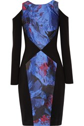Theia Cutout Metallic Floral Jacquard And Crepe Dress Blue