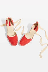 Topshop Williams Espadrille Wedges Red