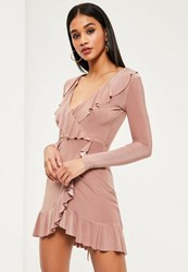 Missguided Pink Silky Frill Wrap Bodycon Dress