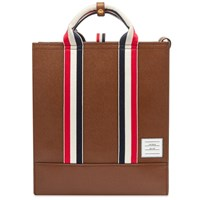 Thom Browne Pebble Grain Leather Lined Tote Brown