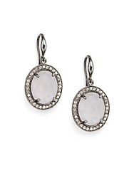 Bavna 0.88 Tcw Diamond Rose Quartz And Sterling Silver Earrings