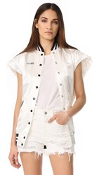 R 13 R13 Sleeveless Varsity Vest Off White